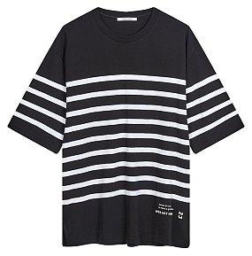 5부 스트라이프 티셔츠