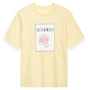 장미 그래픽 티셔츠