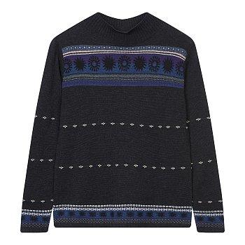 패턴 하이넥 스웨터