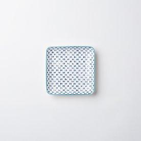 하루 패턴 정사각 접시 12cm_블루