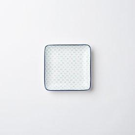하루 패턴 정사각 접시 12cm_민트