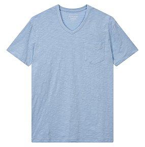 슬럽 포켓 브이넥 티셔츠