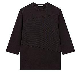 사선블럭 7부 티셔츠