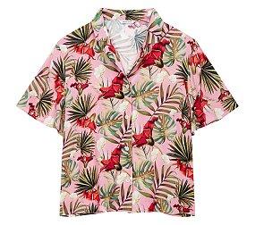 패턴 오픈카라 셔츠