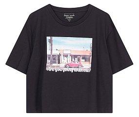 실사 그래픽 크롭 티셔츠