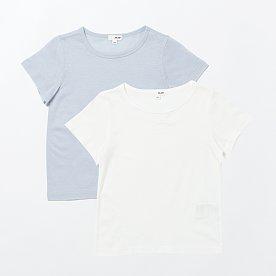 시원한 슬럽코튼 반팔 티셔츠 2P_블루