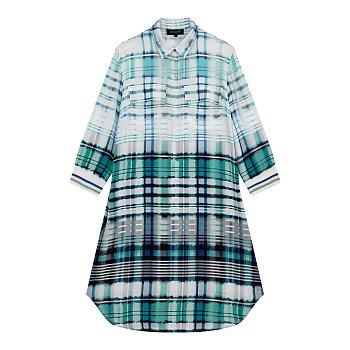 체크 패턴 실크 셔츠형 원피스