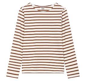스트라이프 패턴 롱 슬리브 티셔츠
