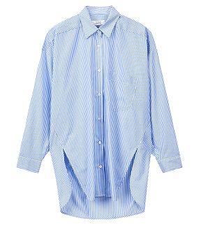 언발 스트라이프 롱 셔츠