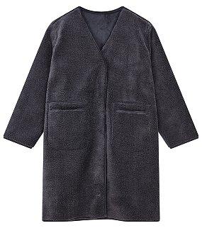 부클 스웨이드 코트