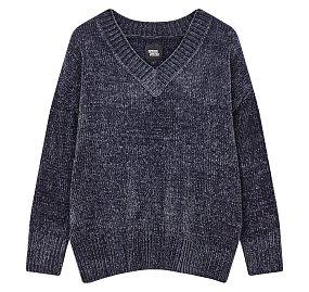 벨벳 브이넥 스웨터