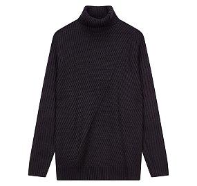 사선조직 터틀넥 스웨터