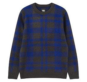체크 배색 스웨터