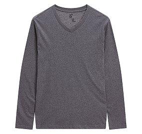 에센셜 브이넥 긴팔 티셔츠_멜란지 그레이