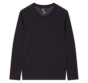 에센셜 브이넥 긴팔 티셔츠_블랙