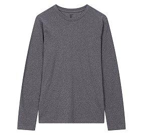 에센셜 크루넥 긴팔 티셔츠_멜란지 그레이