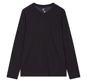 에센셜 크루넥 긴팔 티셔츠_블랙