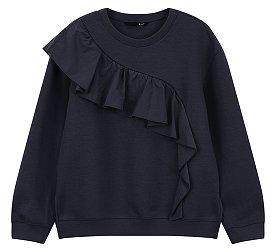 사선 러플 장식 티셔츠