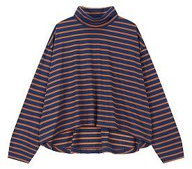 스트라이프 터틀넥 티셔츠