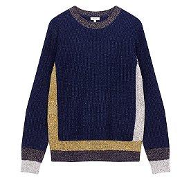 컬러 배색 라운드 스웨터