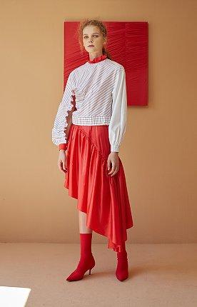 Red Vinyl Ruffled Dress