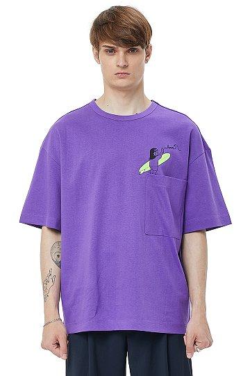 [COOL][x IKI YASUO] 콜라보 프린트 포켓 티셔츠