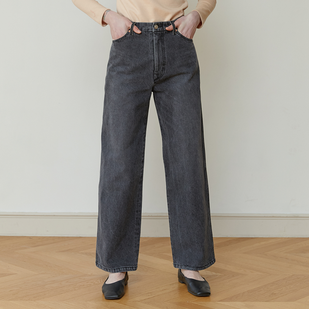 18FW HIGH-RISE WIDE LEG JEANS (GRAY)