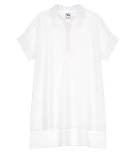오버핏 오픈 반팔 긴기장 셔츠
