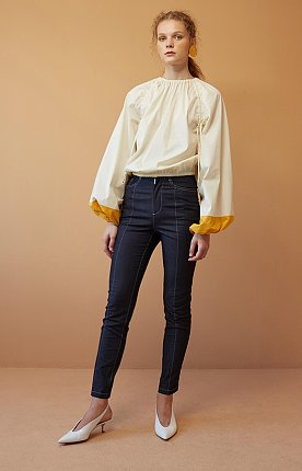 Cream and Yellow Sleeve  Blouse