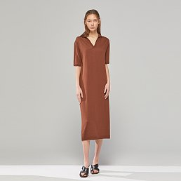 [이혜영 착용] DEMERE CASHMERE BLENDED KNIT DRESS (BROWN)