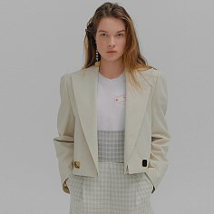 MEM Beige Short Jacket with detachable collar