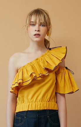 [LAST CHANCE] Yellow One-Shoulder Ruffled Top