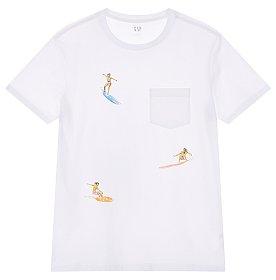 ★갭 남성 19년 SUMMER★ 서핑 프린트 원 포켓 반팔 티셔츠