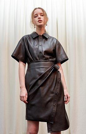 Asymmetric faux-leather wrap dress