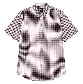 포플린 체크 반팔 셔츠