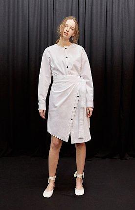 Asymmetric cotton wrap dress