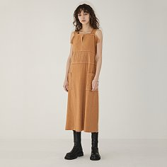 LINEN POINTED ST DRESS [TAN]