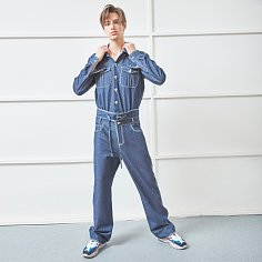 [헨리 착용] UNISEX UNIFORM DENIM JUMPSUIT BLUE