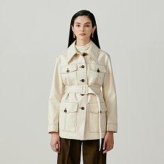 Contrast-Stitch Patch Pocket Belted Faux-Leather Jacket