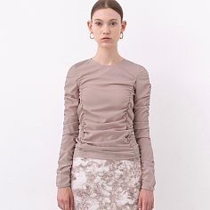 20SS RUCHED LONG-SLEEVE TOP (LIGHT PINK)