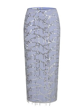 SEQUINED TULLE OVERLAY SKIRT (SILVER/BLUE)