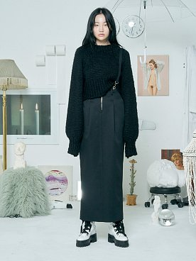 SUSPENDER MAXI SKIRT [BLACK]