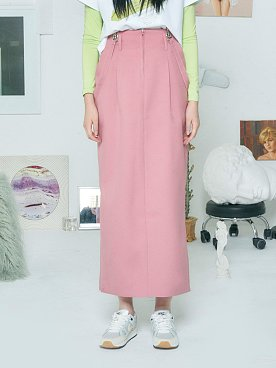 SUSPENDER MAXI SKIRT [PINK]