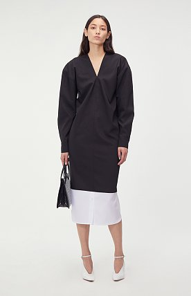 SHIRT LAYERED V-NECK LONG DRESS (BLACK)