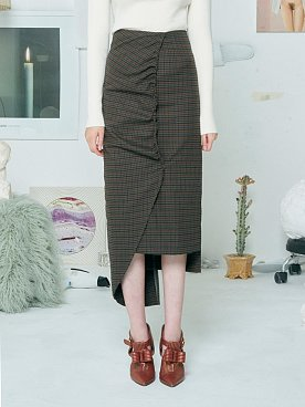 CHECK SHIRRING SKIRT [KHAKI]