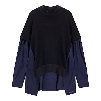 [REGULATION]배색 포인트 모크넥 셔츠