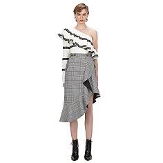 셀프 포트레이트 체크 플라운스 미디 드레스 (SP-RS20-125)