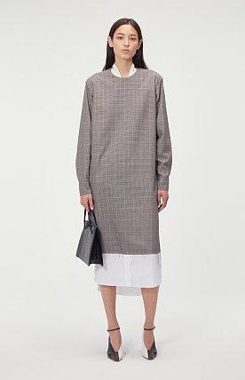 SHIRT LAYERED CHECK LONG DRESS (BEIGE)