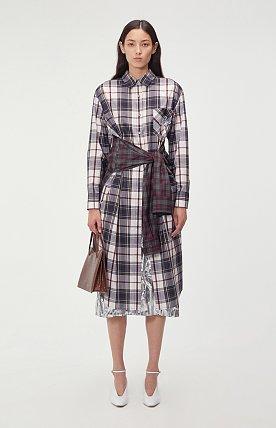 CHECK STRAPPED SHIRT LONG DRESS (MULTI)