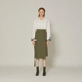 Jeanne  belted cotton skirt _ Khaki